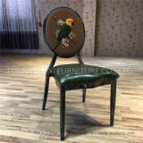 French Style Louis Antique Metal Iron Round Back Dining Chair