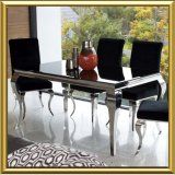 Modern Dining Room Furniture / Contemporary Home Furniture for Dining Room / Black Glass Stainless Steel Louis Dining Table Set with Velvet Fabric Dining Chairs