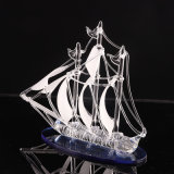 Crystal Boat Model Glass Sailing Boat Figurine Crystal Sailing