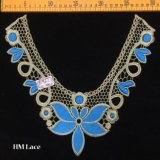 30*28cm Gold Embroidery Blue Neckline Lace Elegant Lace Collar for Clothing Accessories Hme927