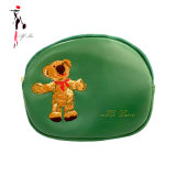 2020 China Factory Cute Bear Embroidery Genuine Leather Small Round Coin Purse