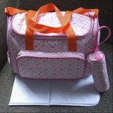 Cotton Mummy Handbag Tote Diaper Baby Bag with Changing Pad