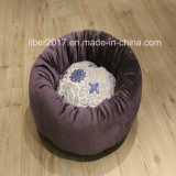 Manufacturer OEM Embroidery Dog Round Bed Cushion Plush Luxury