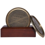 Luxury Quality Gift Decorative Engraving Coaster with Wood Stand Set