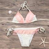 Ladies Sexy Pink Lace Triangle Two Pieces Halter Neck Swimwear Bikini Set