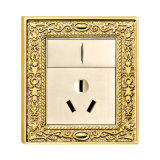 Brass Wall Power Switched Socket with Classic Patterns