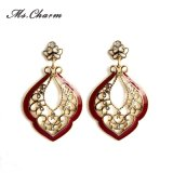 Wine Red Enamel Hollow Leaf Crystal Drop Earrings