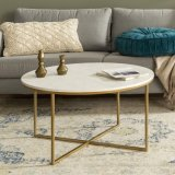 Istudy Modern Marbling Round Tea Table Sofa Side Simple Wrought Steel Coffee Table with Golden Frame
