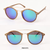 New Fashion Round Wooden Sunglasses with Double Bars