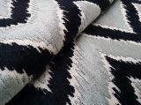 Modern Black Gray Zigzag Cut Pile Velvet