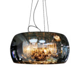 Contemporary Dining Room Glass Hanging Pendant Light Lamp Lighting with Adjustable Hanging Height in Chrome