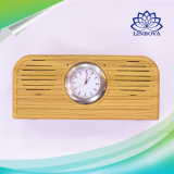 10W Elegant Wood Retro Design Mini Bluetooth Speaker with Quartz Clock