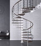 Carbon Steel Wood Treads Spiral Stairs or Curved Stairs