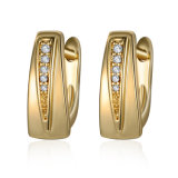 Fashion Simple Design 18K Gold Plated CZ Stud Earrings