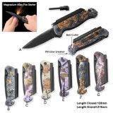 Survival Knife Folding Knife Pocket Knife with LED Flashlight Aluminum with 3D Printing Pattern (#31096)