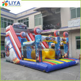 Outdoor Super Hero Inflatable Slide with Obstacle Course Bouncer