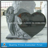Custom Design Angel Heart Carved Black/Red/Grey Granite Cemetery Tombstone for Memorial
