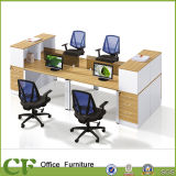 4 Person Straight Workstation Partition Desk with Filing Cabinet