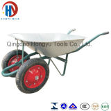 Large Zinc Plated Tray Double Wheel Wheel Barrow (WB6203A)