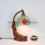 TFT-1572 Tiffany Style Rose Resin Base Table Lamp with Stained Glass Shade