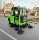 Electric Floor Sweeper Five Brushes All Closed Cab Vacuum Road Sweeper Street Cleaning Machine