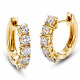 14k Gold Plating Silver Hoop Earrings Jewelry with Big CZ