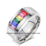 Pride jewelry Stainless Steel Rainbow Bands Gay Men Rings, OEM/ODM Accept