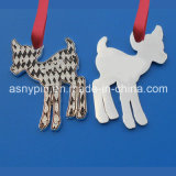 Popular Custom Elk Shape Christmas Ornament for Key Chain with Crystal/Silver Plated