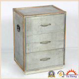 Silver Metal and Wood Antique Chest with Natual Wood Trim