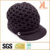 100% Acrylic Knitted Hollowed Cap with Braid and Metal Button