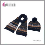 Child′s Jacquard Acrylic Soft and Warm Hat and Scarf Suit