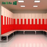 Red and White Sports Locker with Bench