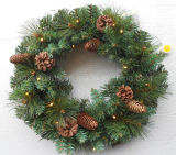 45cm Pre-Lit Wreath with Pine Cones Try Me Button