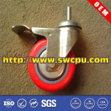 Replacement Heavy Duty Polyurethane Plastic Swivel Threaded Stem Caster Wheel with Brake