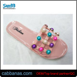 Summer Open Toe Colorful Beaded Shower House Beach Indoor Jelly Slippers for Womens Ladies