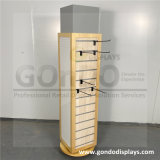 4-Sided Rotating and Removable Wooden and Acrylic Sunglass Display Shelf with Mirror and Hangers