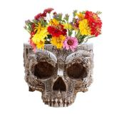 Decorative Plant Flowerpot Hand Carved Resin Human Skull Pot Home