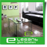 Grey Bent Glass Coffee Table with 4 Legs