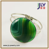 Wholesale Brass Spring Resin Stones Nature Stones Fashion Jewelry Bangle