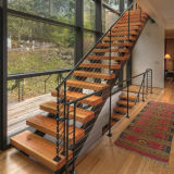 Wood Straight Staircase Design for House Interior Mono Stringer Wood Stairs