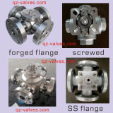 Forged Steel Stainless Steel ASTM-A105 A182-F304/F316 F11/F51 Four-Way 4-Way Flanged Ball Valve Q46f Manufacturer Factory