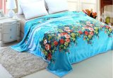 Warm Soft Flower Printed 100% Polyester Flannel Fleece Blanket