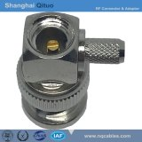RF Connector BNC Right Angle Male Plug Crimp for Rg-58u (BNC-JW-C-3)