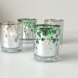 OEM Pattern Elecplating Glass Candle Jar Holder Glass Candle Stick