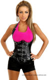 Halter Faux Leather Goth Spiral Steel Boned Underbust Corset