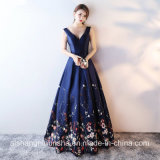 Printed Floral Satin Floor-Length V-Neck Evening Party Prom Dress