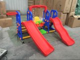 Outdoor Plastic Swing and Slides with Basketball Hoop for Children