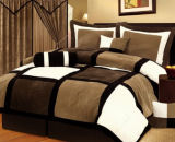 Micro Suede Patchwork 7-Piece Comforter Bedding Set, Queen, Black/Brown/White