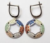 Wholesale 925 Sterling Silver Fashion Jewelry Micro Pave Colorful Rainbow CZ Earring