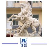 Hand Carved Garden Sculpture, Beige/White Marble Stone Animal Statue Carving for Garden